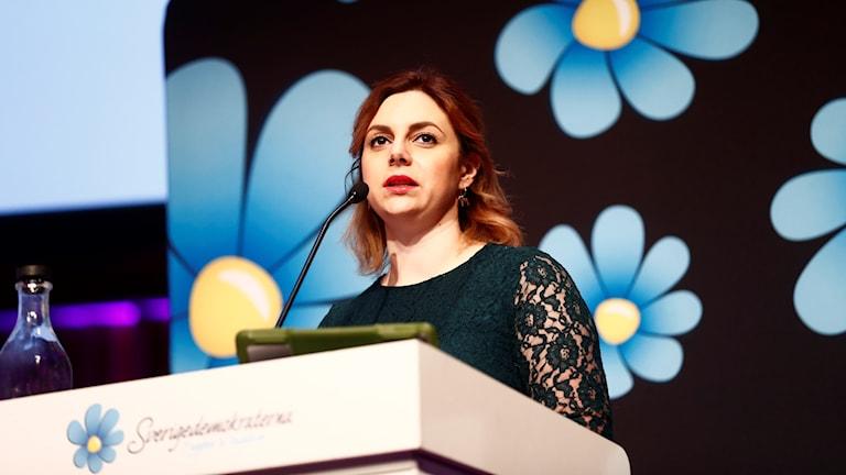 Paula Bieler speaks at the recent Sweden Democrat conference.