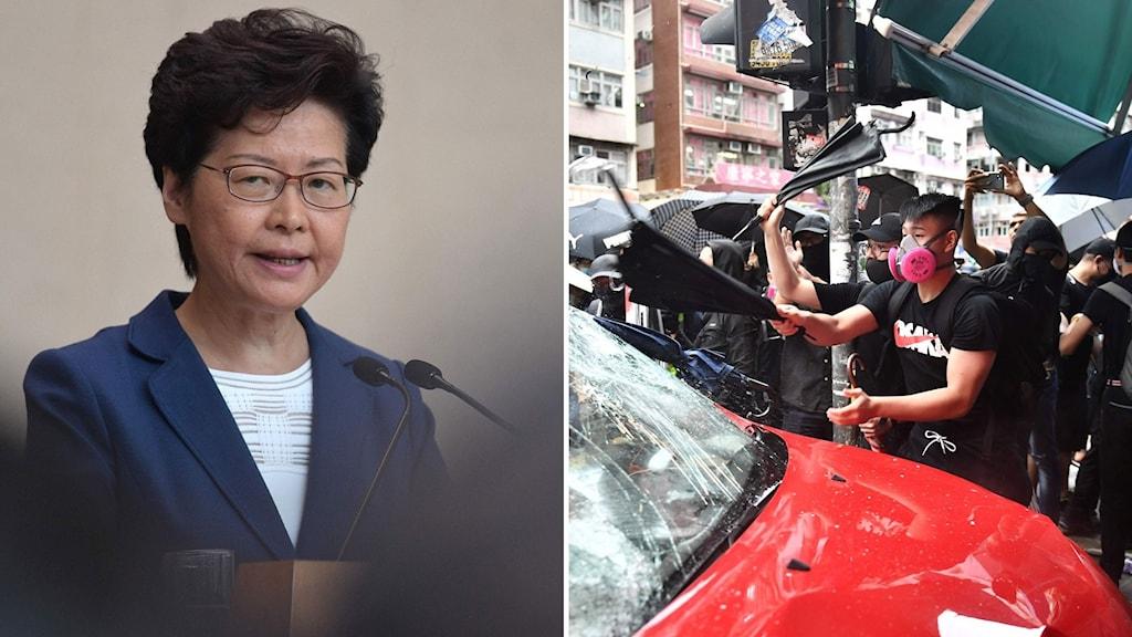 Carrie Lam uttalar sig om den våldsamma situationen i Hongkong.