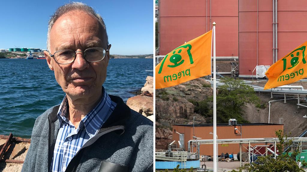 Inge Löfgren, lokal ordförande i Naturskyddsföreningen, samt Preemraff, Preems oljeraffinaderi i Lysekil. Foto: Jan Andersson/Sveriges Radio, Thomas Johansson/TT. Montage: Sveriges Radio.