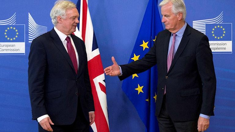 Två män framför flaggor.