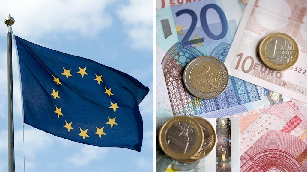 EU-flagga och euro