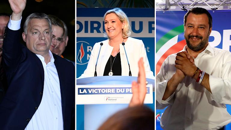 Viktor Orban, marine Le Pen och Matteo Salvini.