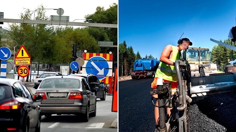 Vägarbetsplats med bilar och en person sm arbetar på vägen.
