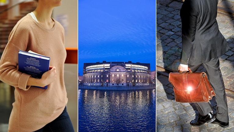 Tredelad bild: kvinnlig student, riksdagshuset, man i kostym med portfölj.