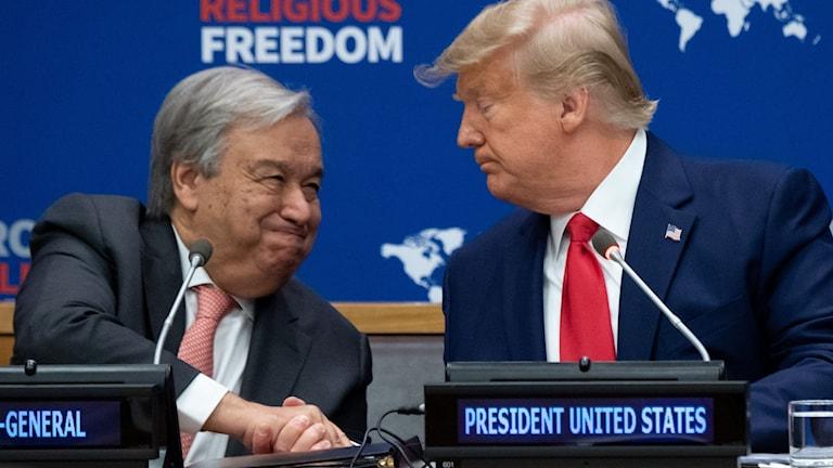 FN:s generalsekreterare Antonio Guterres och USA:s president Donald Trump.