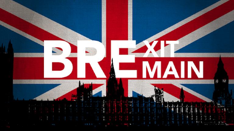 Brittiska parlamentet i silluett fraför brittiska flaggan. Text: Brexit/Bremain. Illustration: Liv Widell/Sveriges Radio.