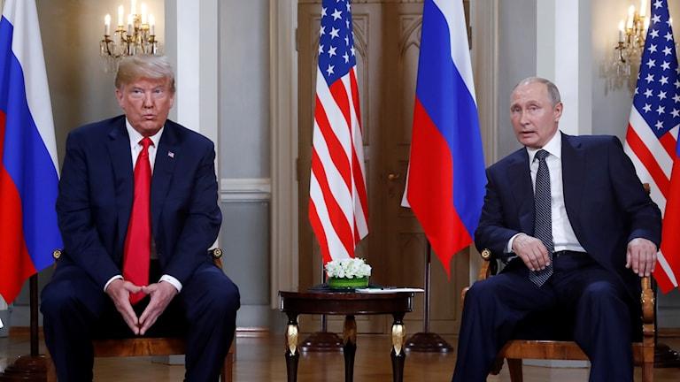 USA:s president Trump och Rysslands president Putin möttes i Helsingfors den 16 juli.