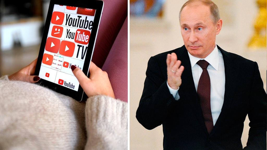 Tjej som tittar på youtube; Rysslands president Vladimir Putin. Foto: Janerik Henriksson/Natalia Kolesnikova/TT. Montage: Sveriges Radio.