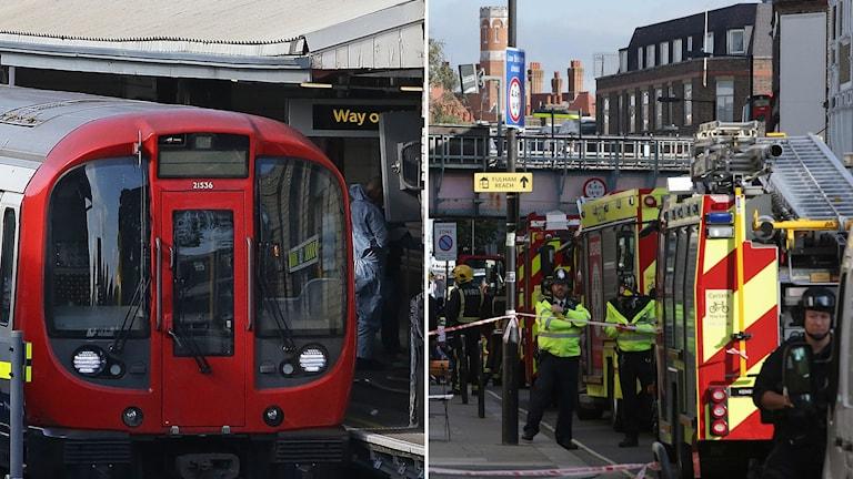 bildsplit på tunnelbanetåg och räddningspersonal på gata.