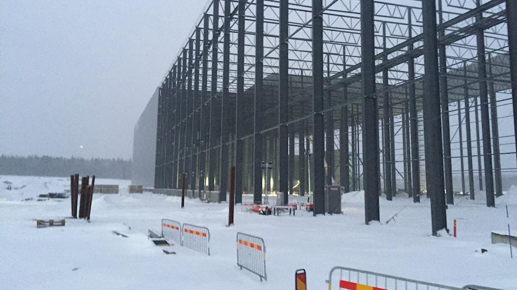 Ett stålskelett reser sig och väggar håller på att kläs vid batterifabriksbygget i Skellefteå en snöig och blåsig vinterdag.