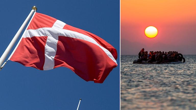 Delad bild: Dansk flagga och båt med flyktingar