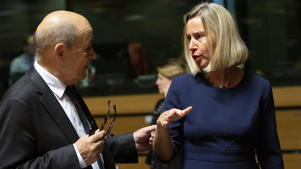 EU:s utrikespolitiska chef Federica Mogherini med Frankrikes utrikesminister Jean-Yves Le Drian.