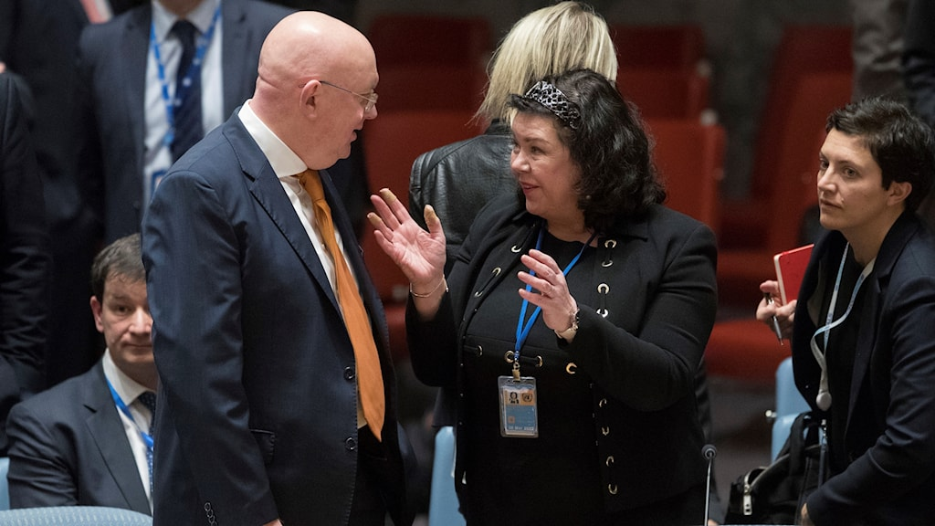 Möte i FN:s säkerhetsråd där Ryssland och Storbritannien diskuterar nervgiftsattacken i Salisbury 180405