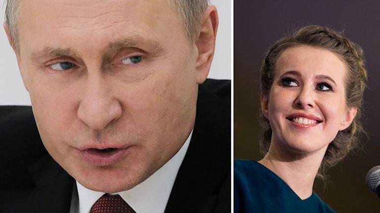 Vladimir Putin och den enda kvinnliga presidentkandidaten Ksenija Sobtjak.