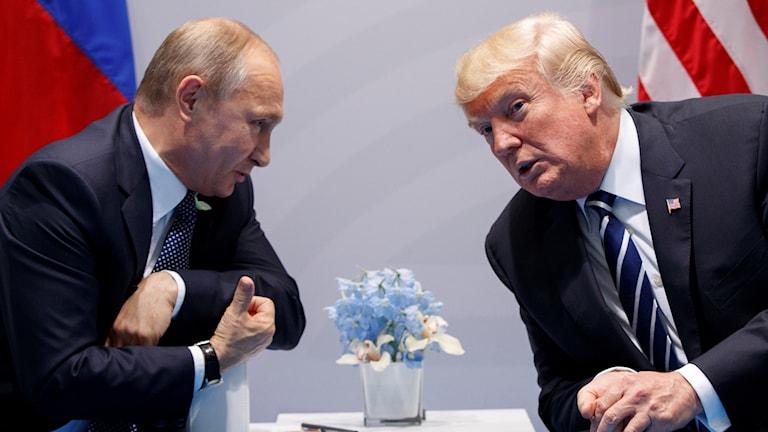 Bild på Putin och Trump under G-20 mötet i Hamburg i juli 2017.