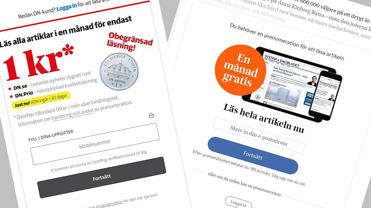 Skärmklipp från DN.se och Svd.se där betalväggen syns.