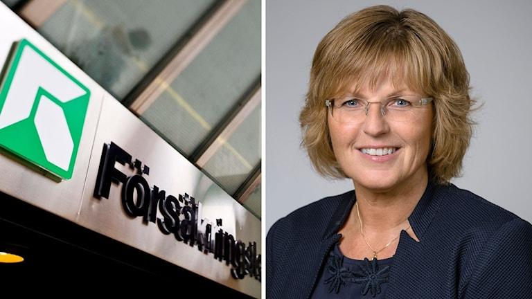 Försäkringskassans logga och Ruth Mannelqvist. Henrik Montgomery, TT/ Umeå universitet. Montage: Sveriges Radio.