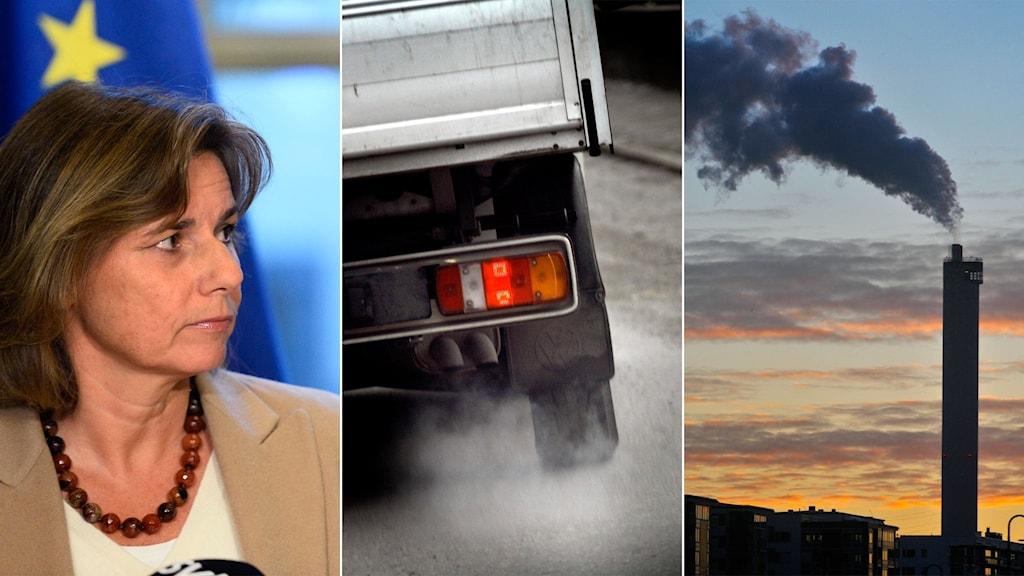 Tredelad bild: Kvinna framför EU-flagga, bil som släpper ut avgaser och skorsten med rök.