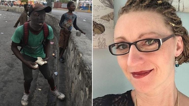 Unga haitier kastar sten under protesterna. Missionären Lisa Honorat.