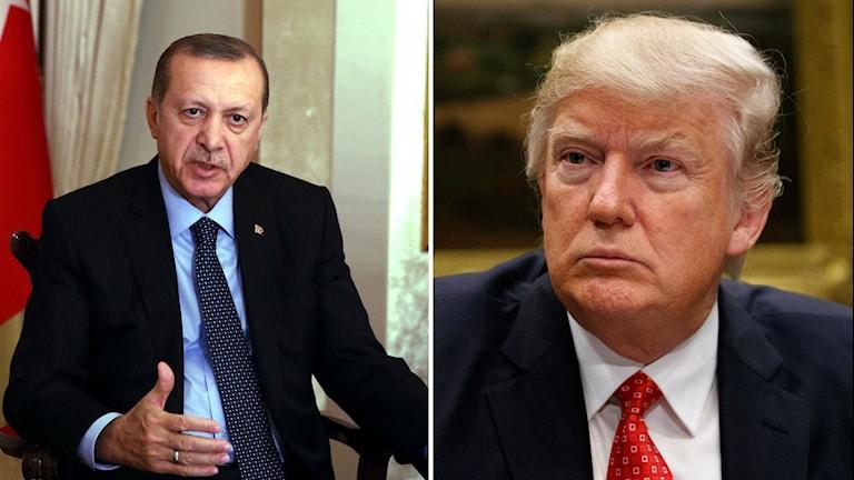 Turkiets president Erdoğan och USA:s president Trump.
