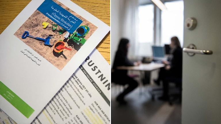 Delad bild: Broschyr på arabiska och svenska, två personer sitter på varsin sida om ett bord.
