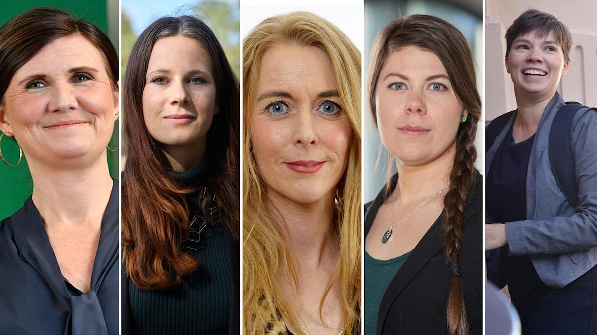 Fem kvinnor står upp.