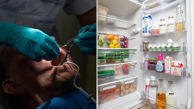Tandläkare undersöker persons mun och bild på öppet kylskåp