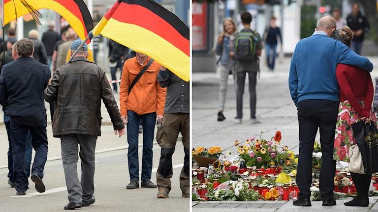 Efter dådet  i Chemnitz ägde demonstrationer rum. Foto: Ralf Hirschberger/Jens Meyer/TT. Montage: Sveriges Radio.