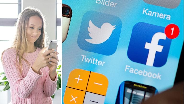 Tjej som ler och kollar in i sin mobil, och en mobilskärm som visar Twitter- och Facebookapp