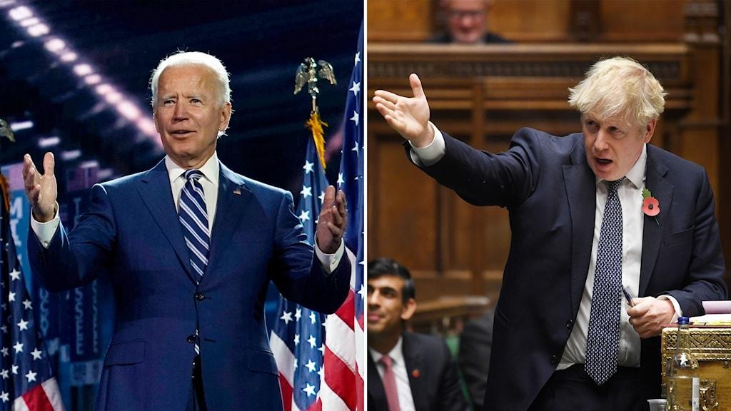 Delad bild: Joe Biden med öppen famn tittar ut ur bild, Boris Johnson med utsträckt hand tittar mot Biden