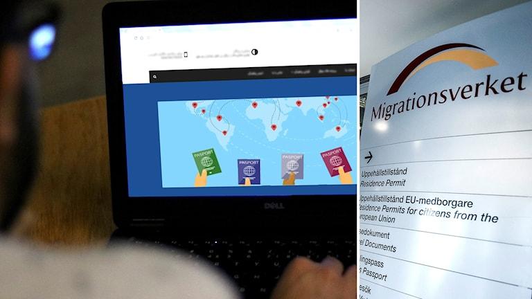 Man framför dator med hemsida på skärmen. Skylt vid entré till Migrationsverkets lokaler.