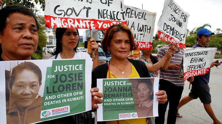 Protester i Filippinerna efter att en filippinsk gästarbetare hittats mördad i Kuwait.