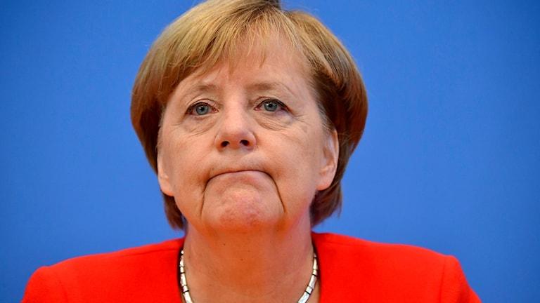Angela Merkel vid dagens presskonferens.