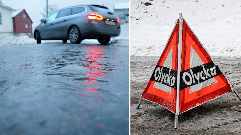 Delad bild: En bild på en hal väg, och en vägkon som placeras ut vid olyckor.