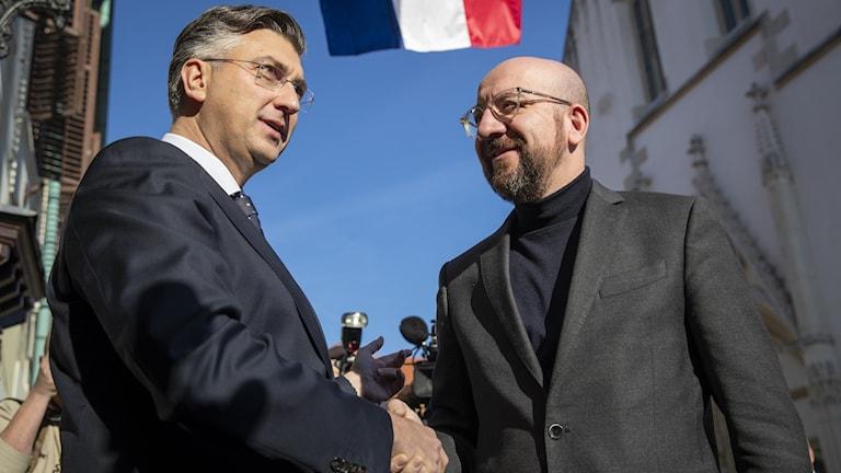 Andrej Plenkovic, premiärminister i Kroatien och Charles Michel, President of the European Council.