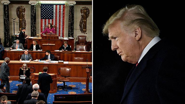 USA:s kongress till vänster, Donald Trump till höger.