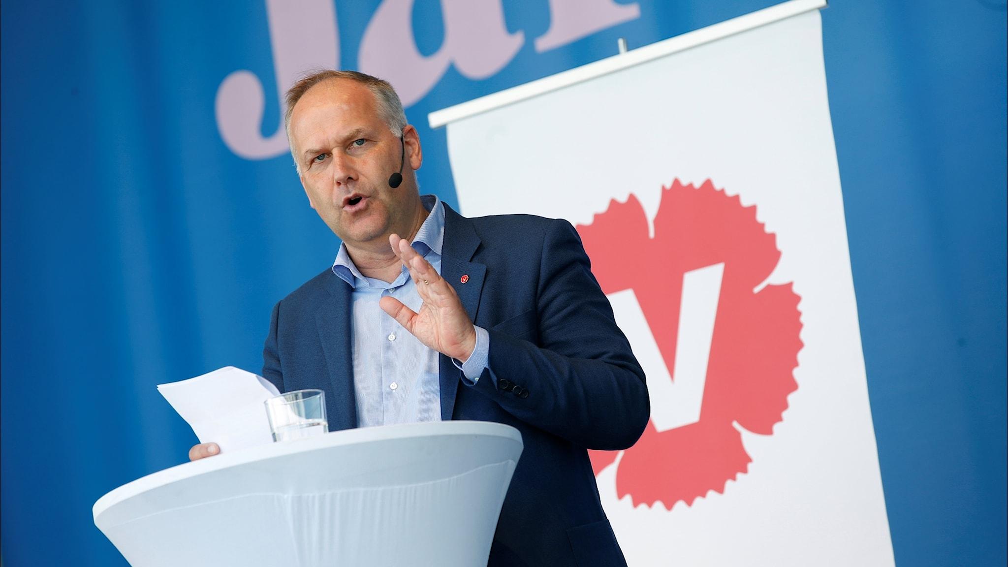 Jonas Sjöstedt (V) talar i Almedalen 2018