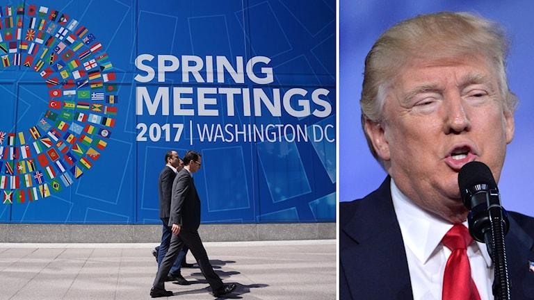 Bild från IMF:s vårmöte i Washington och USA:s president Donald Trump.