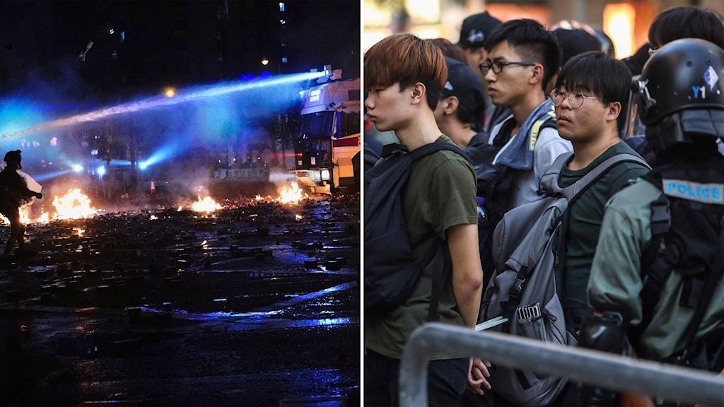 Demonstranter vid Hongkongs polytekniska universitet (arkivbilder). Foto: Vincent Yu/AP/TT och Dale de la Rey/AFP/TT.