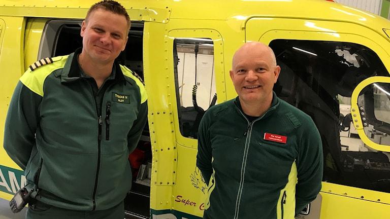 Thomas Willén och Per Arnell står framöver en röd och gul ambulanshelikopter