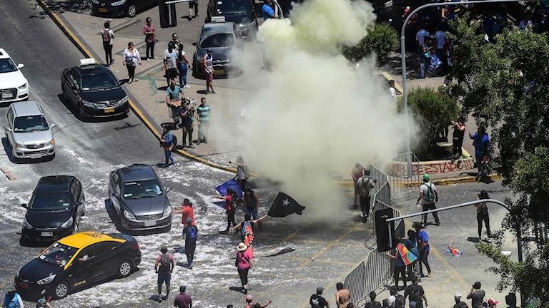 Bild på protesterna i Santiago, Chile.