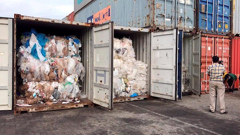 Två containrar som öppnats som visar plastskräpet inuti.