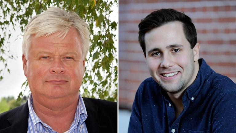 Skånemoderaternas ordförande Lars-Ingvar Ljungman och Benjamin Dousa, ordförande för Moderata ungdomsförbundet, Muf
