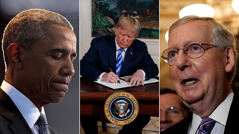 Den tidigare presidenten Barack Obama, president Donald Trump och Mitch McConnell