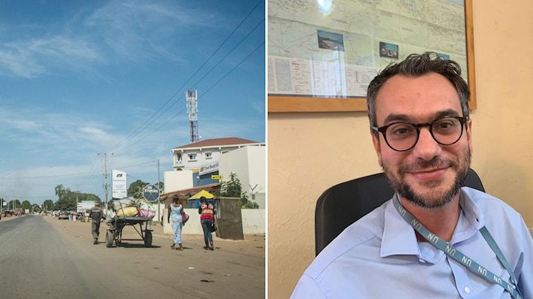 Gata i Gambia och man i glasögon