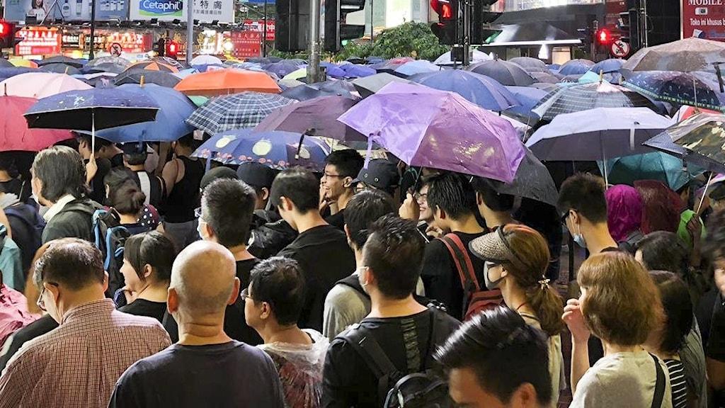 Arkivbild – demonstranter i Hongkong protesterar över ökat inflytande från Fastlandskina i augusti 2019.