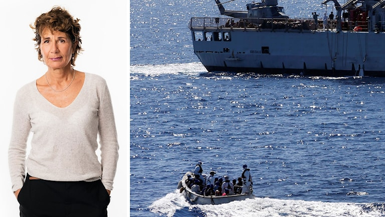 Sveriges Radios migrationskorrespondent Alice Petrén i bildsplit med flyktingbåt på Medelhavet