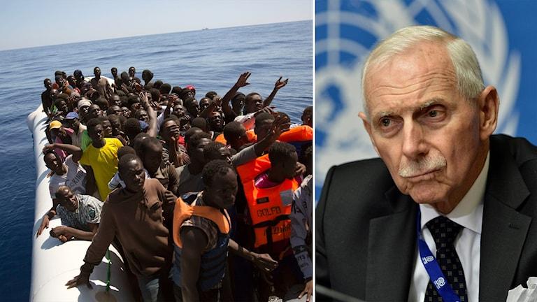 Delad bild: Migranter i en gummibåt, man framför en FN-flagga.