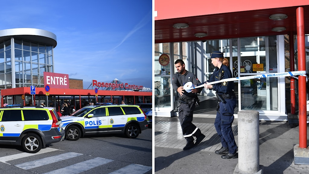 Polis spärrar av Rosengårds Centrum i Malmö efter att en person knivskurits till döds i ett bråk.