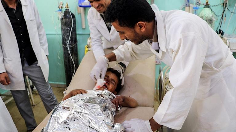 Skadat barn på sjukhuset.